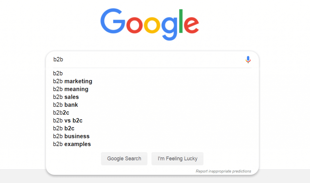 esempio di completamento automatico di google come funzione di ricerca user-friendly.