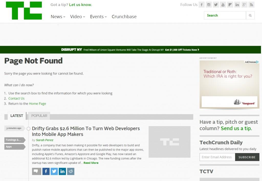 pagina 404 di Techcrunch con funzionalità di ricerca e contenuti utili.