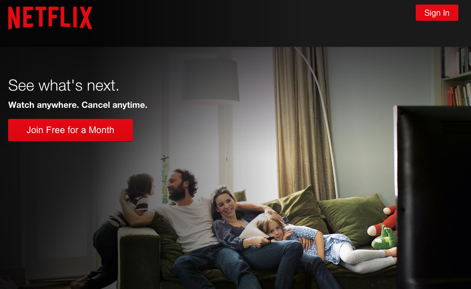 Esempio di pagina di destinazione Netflix