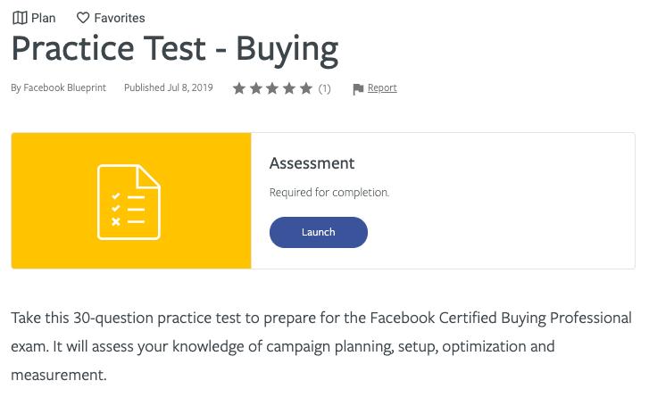 Certificazione Blueprint di Facebook - Acquisto