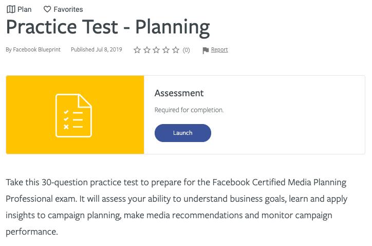 Certificazione Blueprint Facebook - Pianificazione