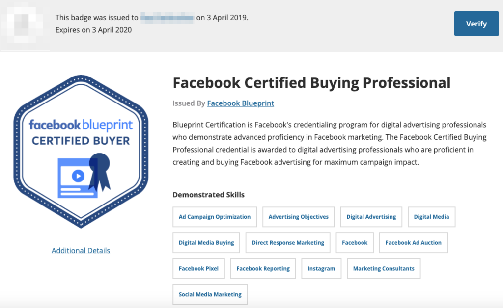 Badge professionale d'acquisto certificato Facebook