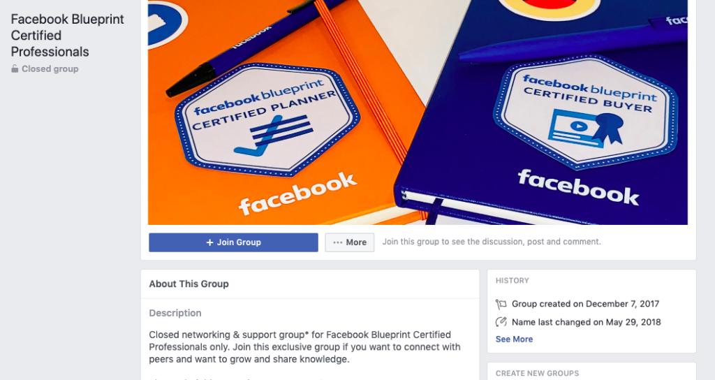 Gruppo di professionisti certificati Blueprint di Facebook