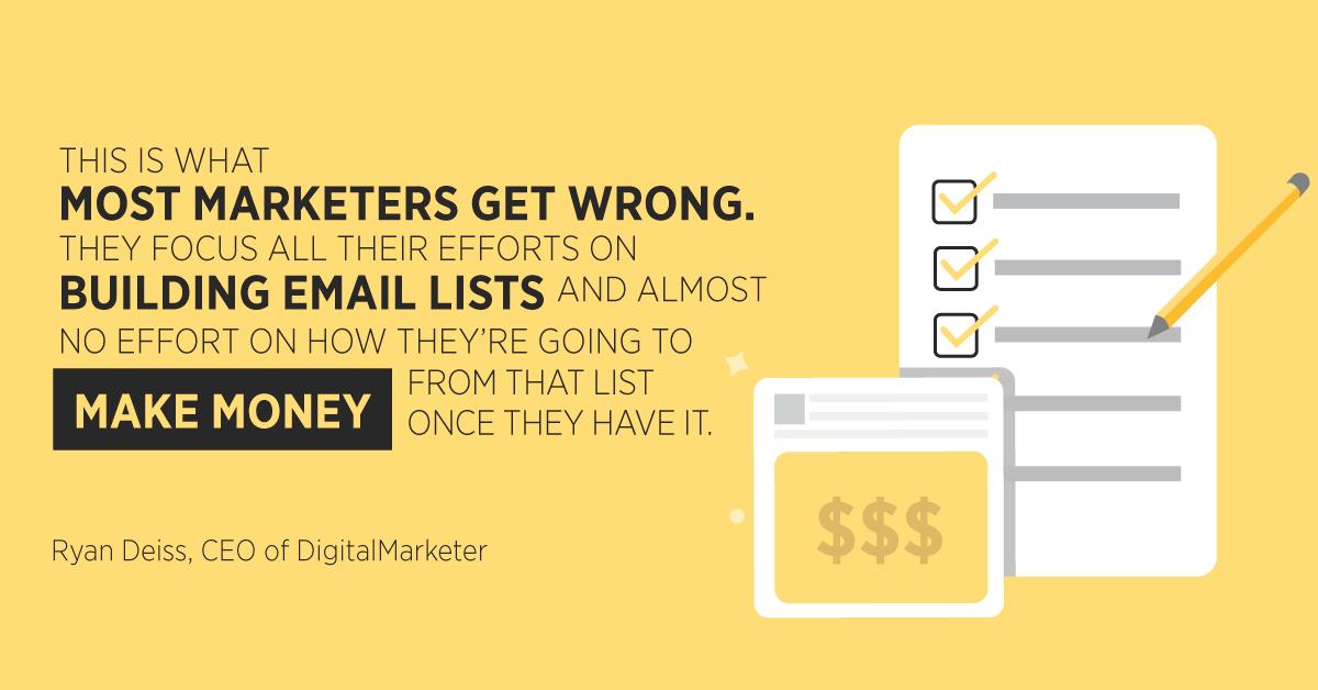 """""""Questo è ciò che la maggior parte dei marketer sbaglia. Concentrano tutti i loro sforzi sulla costruzione di elenchi di posta elettronica e quasi nessuno sforzo su come faranno soldi da quella lista una volta che ce l'hanno. """"Ryan Deiss, CEO di DigitalMarketer"""