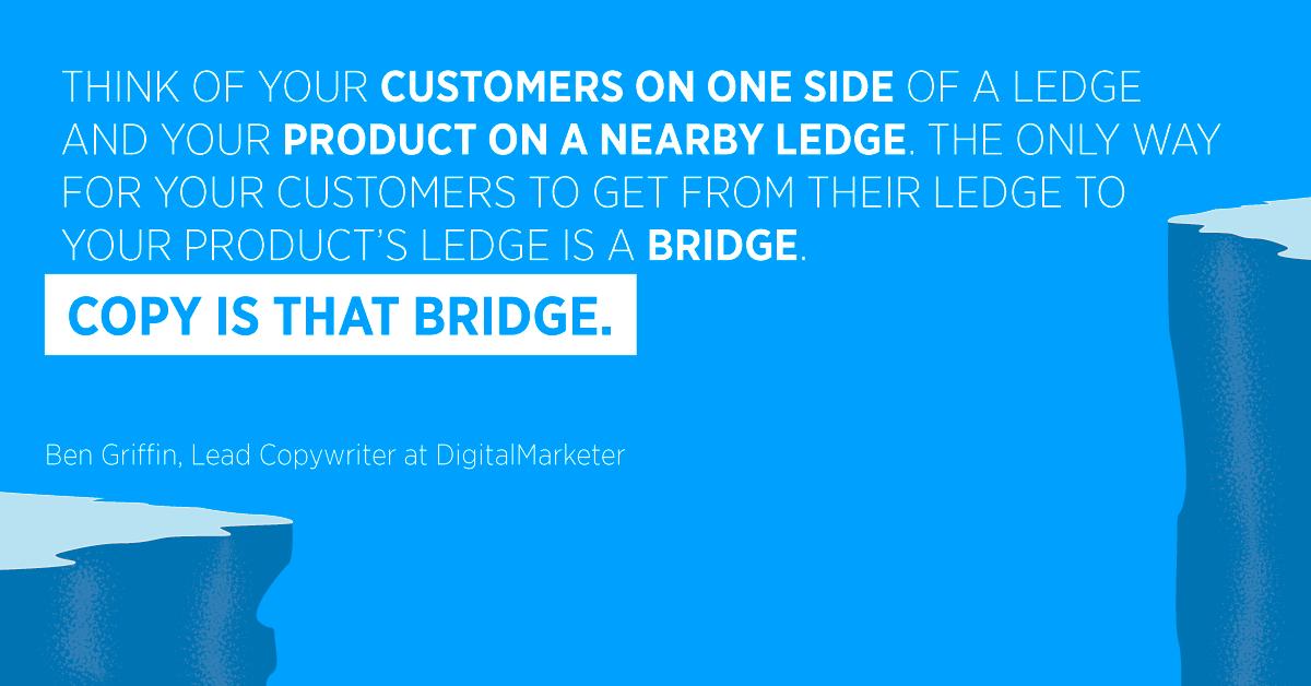 """""""Pensa ai tuoi clienti su un lato di una sporgenza e al tuo prodotto su una sporgenza vicina. L'unico modo per i tuoi clienti di passare dalla sporgenza alla sporgenza del tuo prodotto è un ponte. Copia è quel ponte. """"Ben Griffin, Lead Copywriter presso DigitalMarketer"""