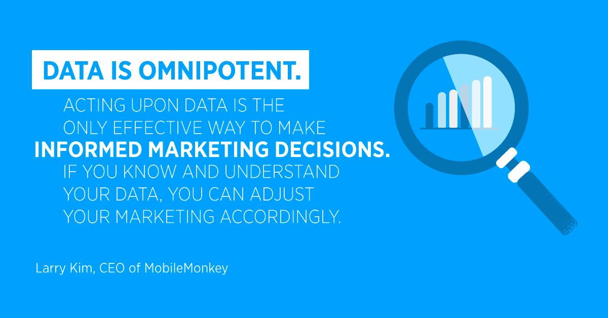 """""""I dati sono onnipotenti. Agire sui dati è l'unico modo efficace per prendere decisioni di marketing informate. Se conosci e comprendi i tuoi dati, puoi adattare il tuo marketing di conseguenza. """"Larry Kim, CEO di MobileMonkey"""