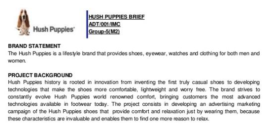 Dichiarazione e sfondo del marchio Hush Puppies
