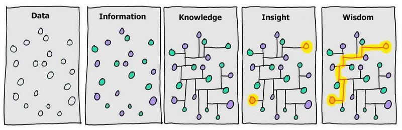 grafico che mostra la trasformazione dei dati in saggezza.