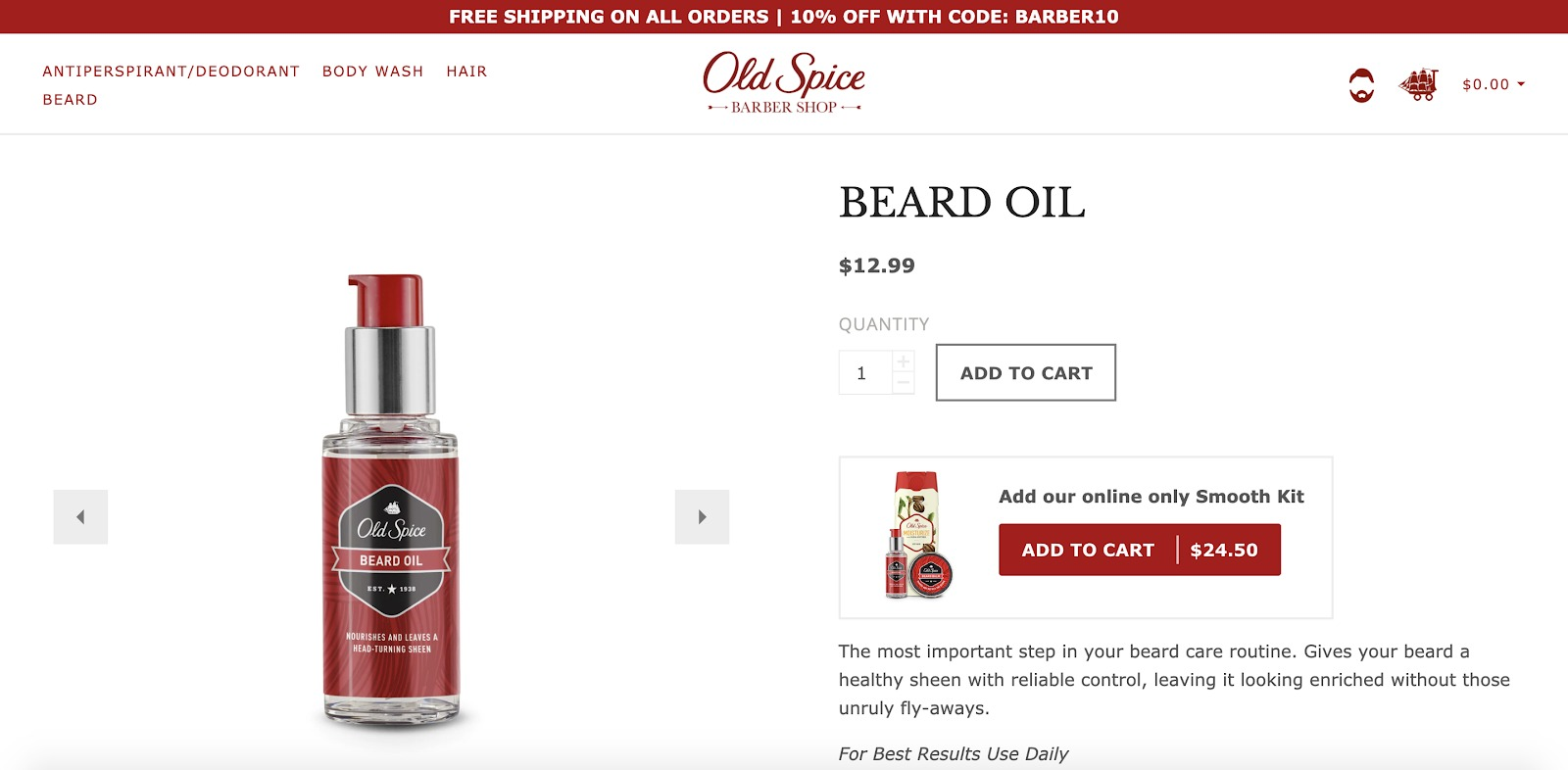 Esempio di negozio di olio Old Spice Beard