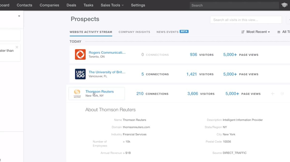 Pagina prospect Hub Hub Hub di vendita