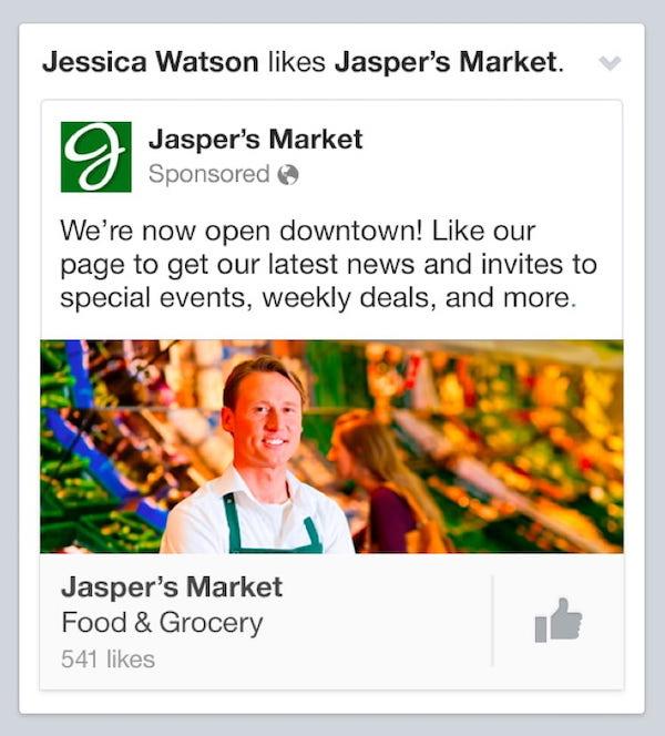 Esempio di annuncio di Facebook