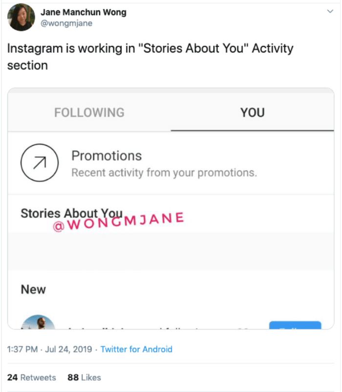 Storie su di te Instagram