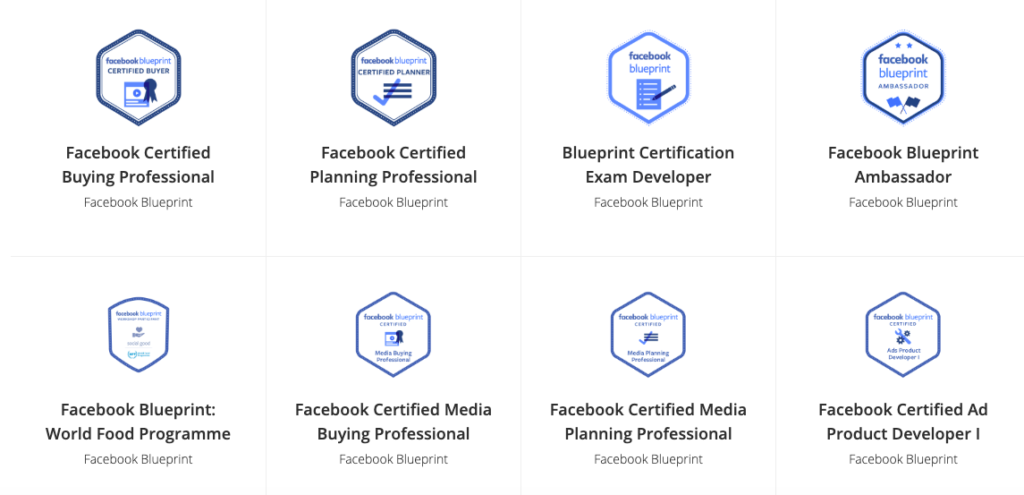 Badge di certificazione Blueprint Facebook