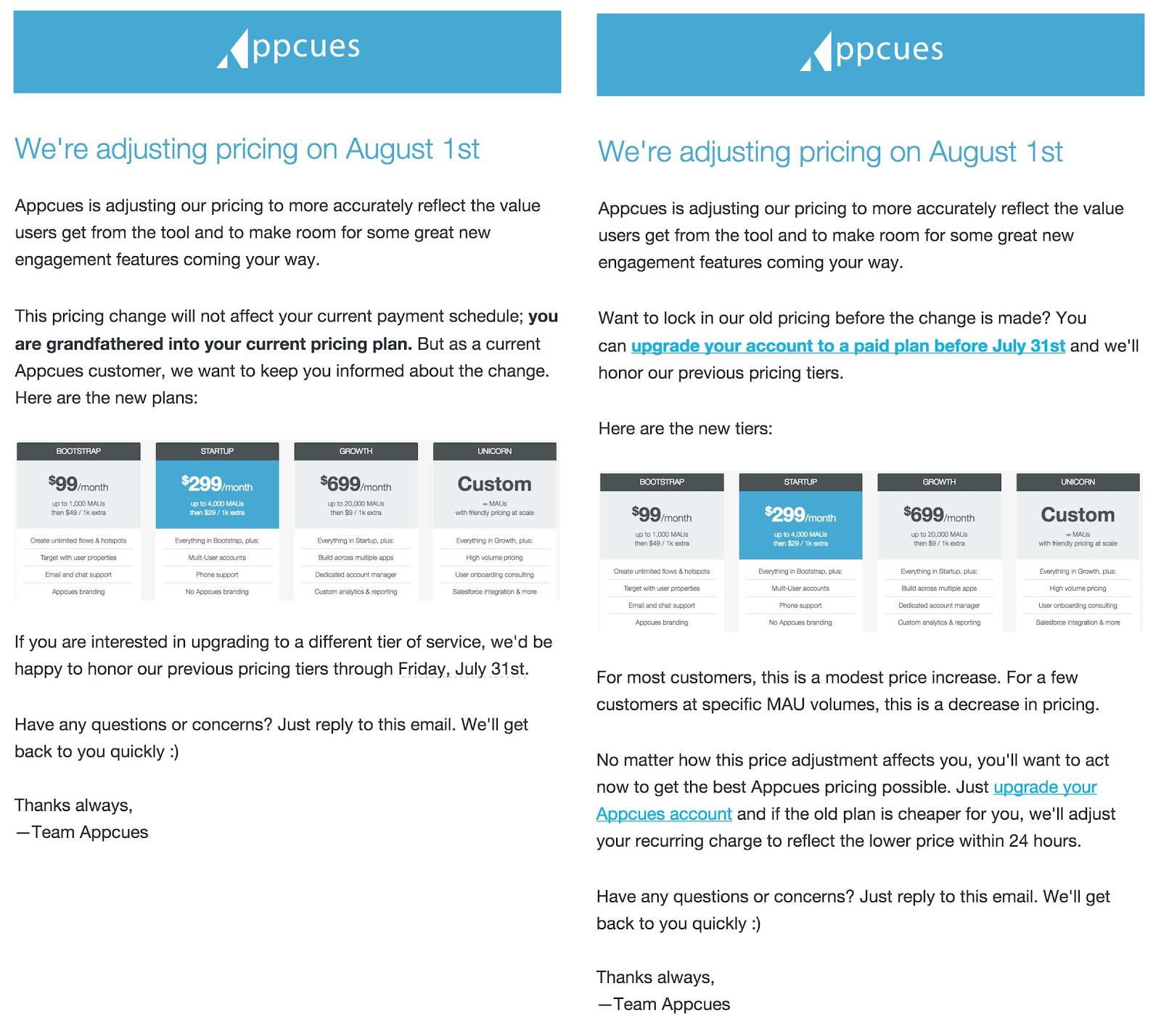 Applica le e-mail inviate ai clienti sugli aumenti di prezzo.