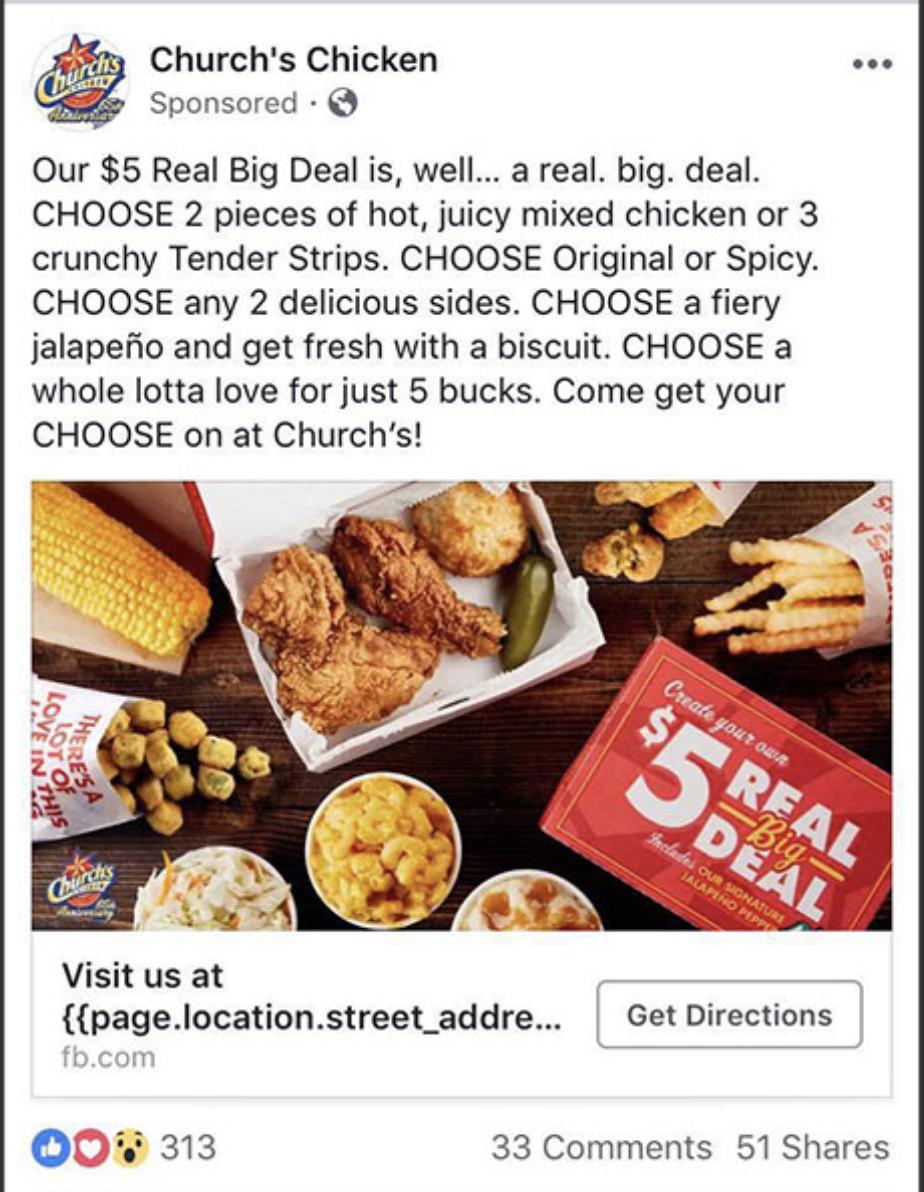 """Church Chicken Annuncio di Facebook che evidenzia posizione """"larghezza ="""" 640 """"style ="""" larghezza: 640px;"""