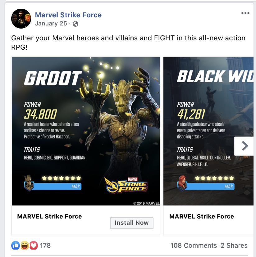 """Carosello di carte da gioco Marvel Strike Force su Facebook """"larghezza ="""" 640 """"stile ="""" larghezza: 640px;"""