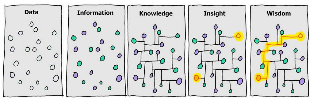 disegni che mostrano la transizione dei dati in saggezza.
