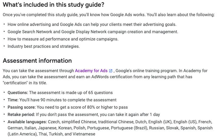 Guida allo studio dei fondamenti della certificazione degli annunci di Google