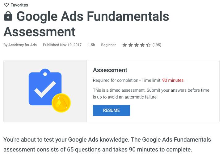 Certificazione annunci Google - valutazione dei fondamenti