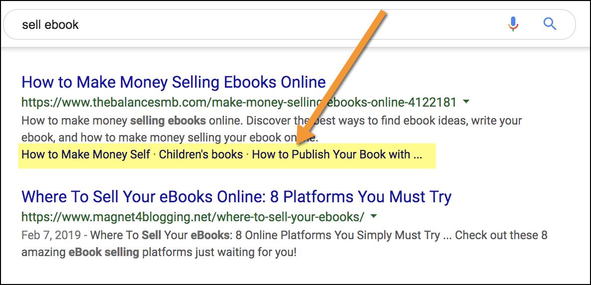 esempio di mini-sitelink nei risultati di ricerca.