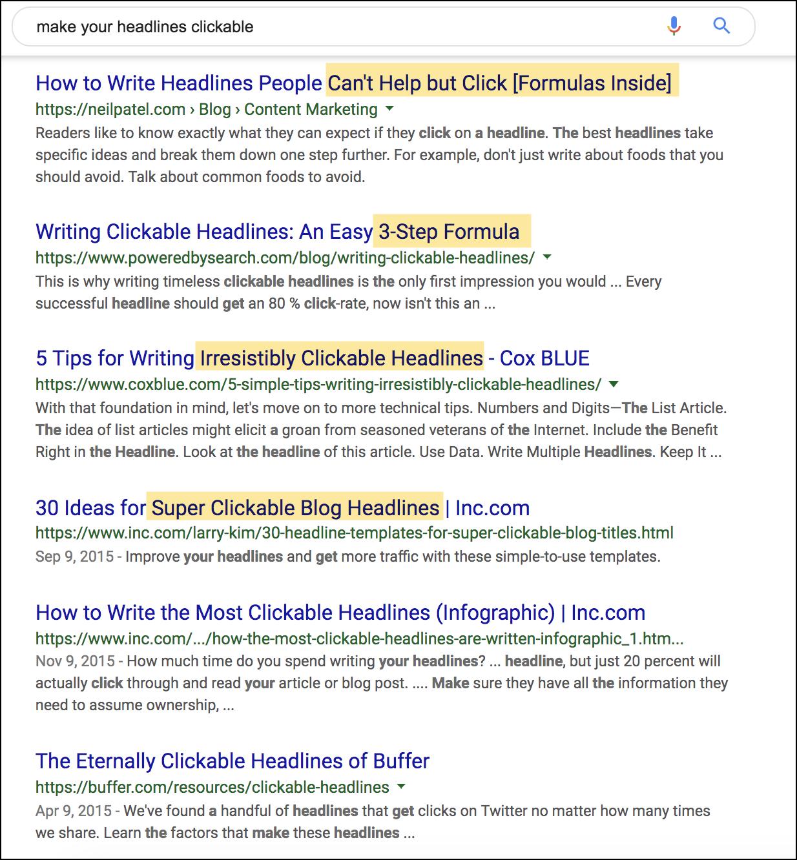 esempio di titoli nei risultati di ricerca di Google.