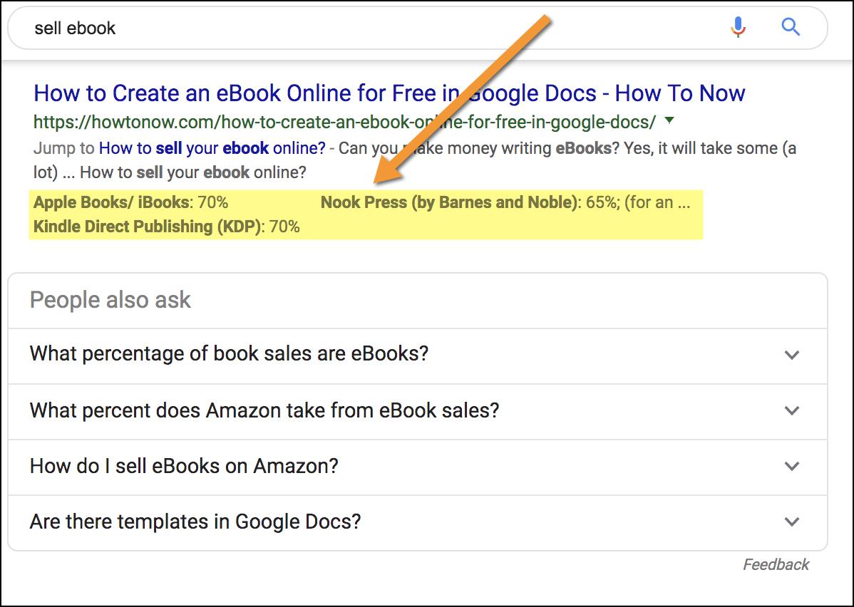 esempio di Google che estrae contenuti da una tabella e li visualizza nei risultati di ricerca.