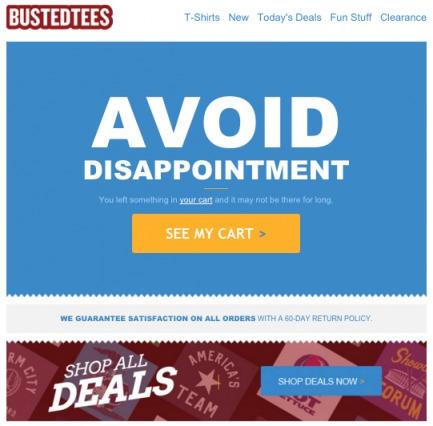 esempio di e-mail di abbandono del carrello da parte del venditore di t-shirt e-commerce.