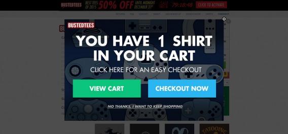 esempio di carrello persistente dal negozio di e-commerce.
