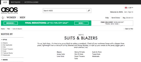 Pagina della categoria di contenuti di ASOS