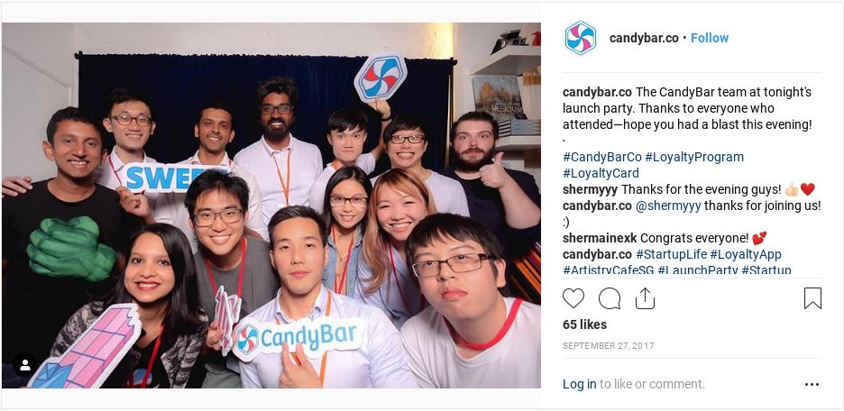 festa di lancio della compagnia candybar.