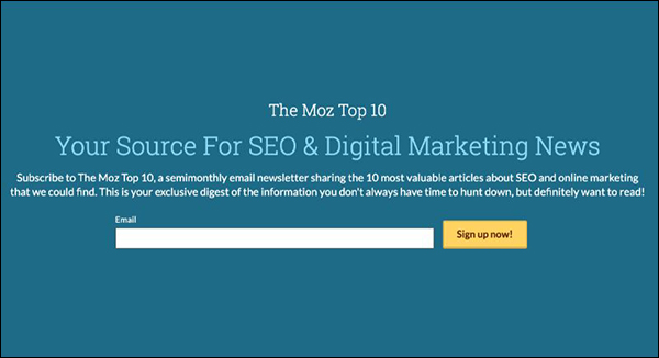 Newsletter via email Moz