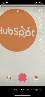 Visualizzazione dello schermo della fotocamera dell'app TikTok