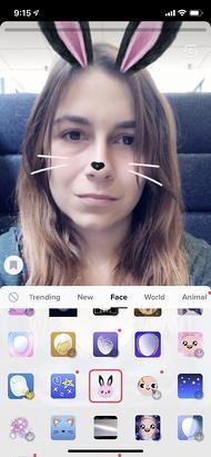 Anteprima del filtro facciale coniglietto AR su TikTok
