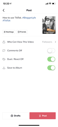 Modifica le impostazioni dei post e aggiunta di una didascalia su TikTok