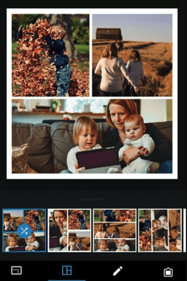 L'impostazione di creazione collage sull'app mobile Adobe Photoshop Express
