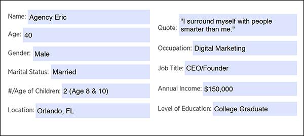 Foglio di lavoro avatar cliente: informazioni demografiche