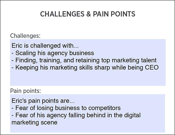Foglio di lavoro Avatar cliente: sfide e punti critici