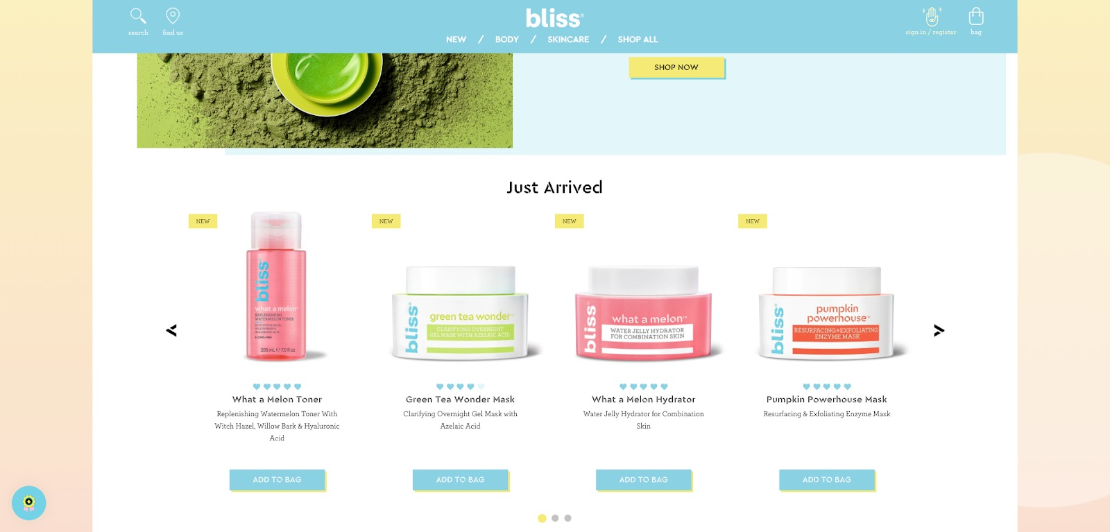 Homepage di Bliss