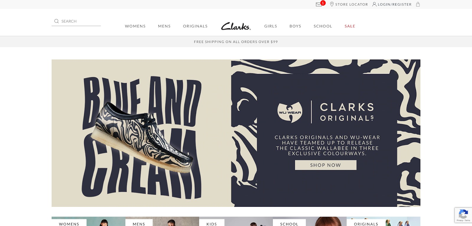 Homepage di Clarks