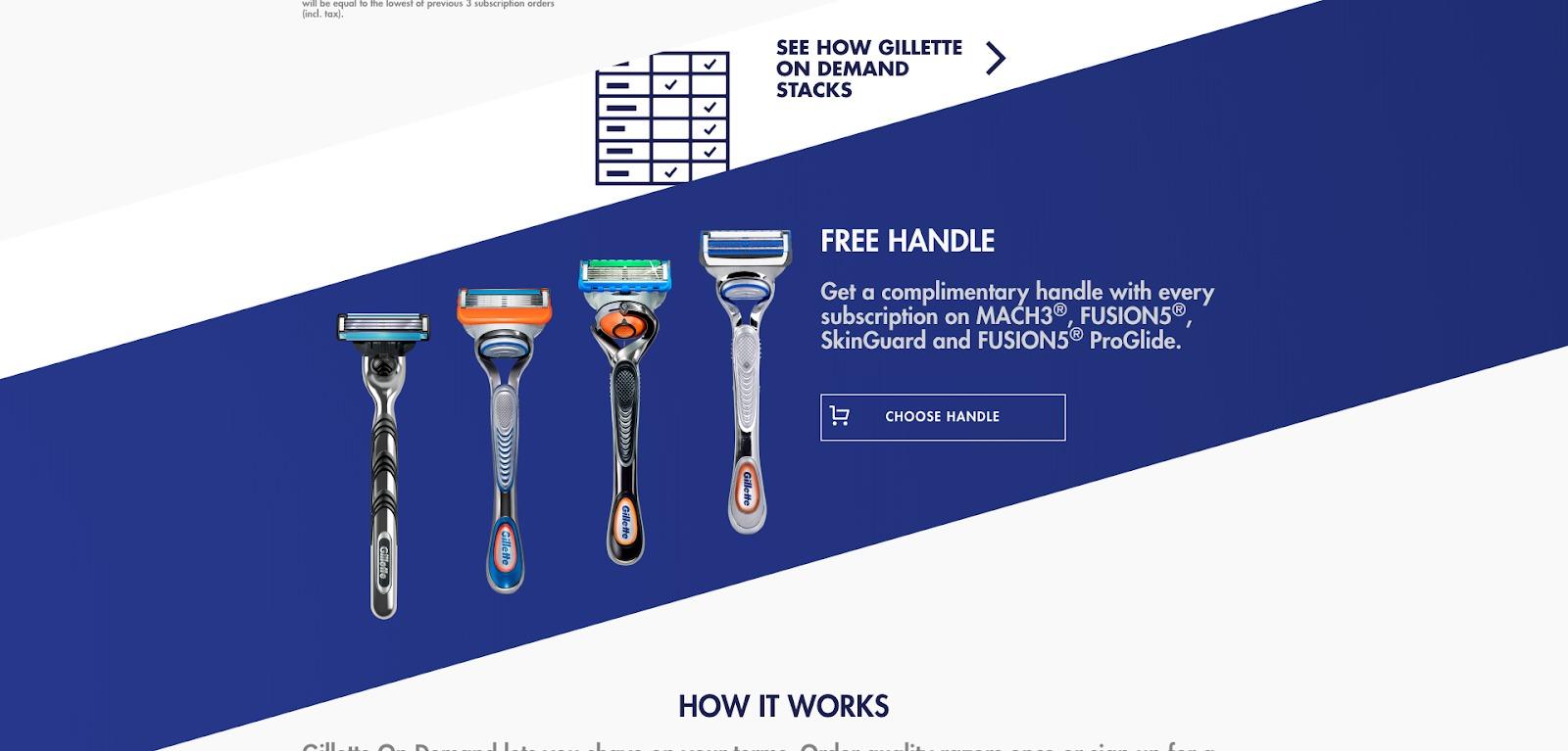 Homepage di Gillette