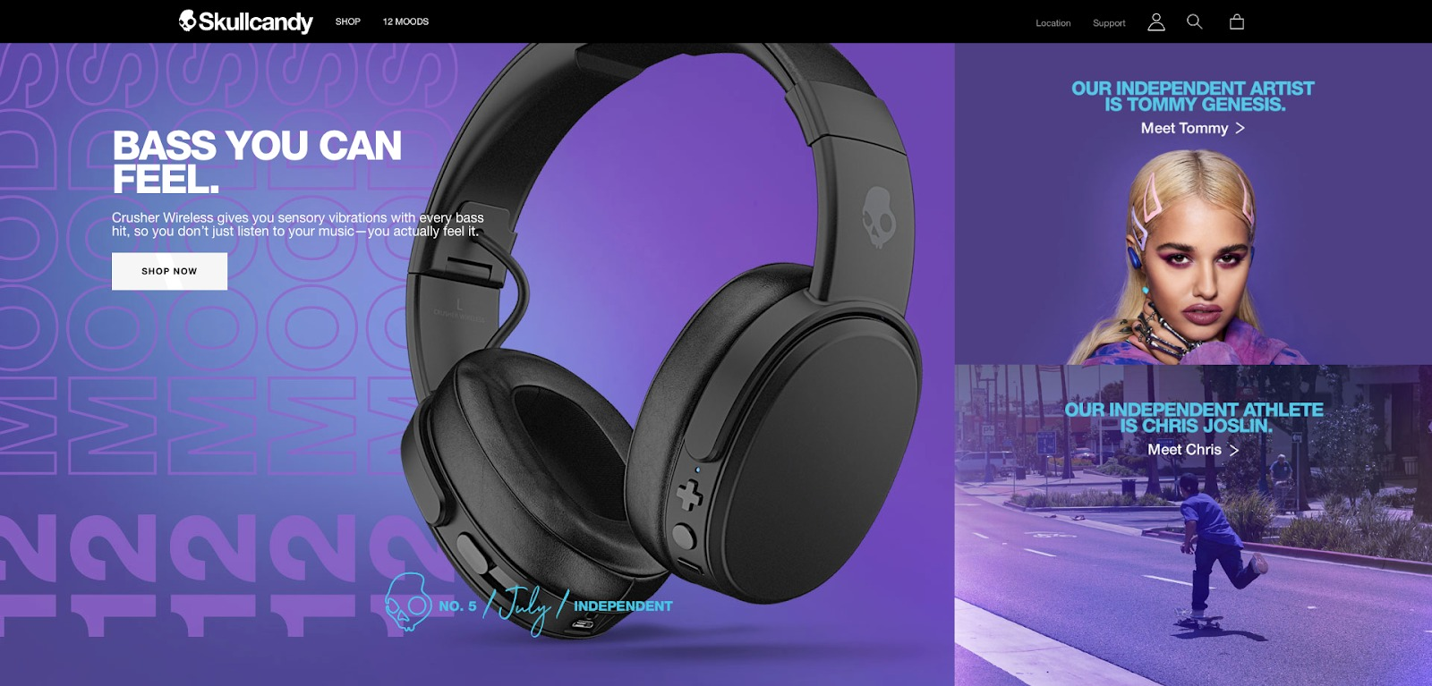 Homepage di Skullcandy