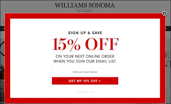 15% di sconto da Williams Sonoma