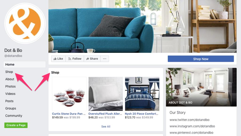 Opzioni del negozio del marketplace di Facebook