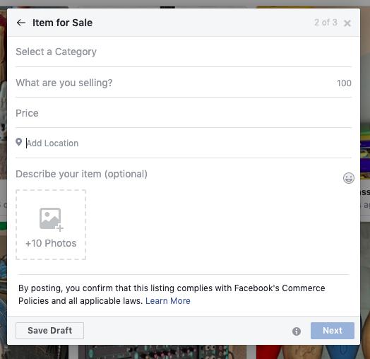 Strumento per la creazione di elenchi del marketplace di Facebook