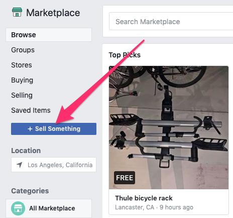 Pulsante Vendi qualcosa nel Marketplace di Facebook