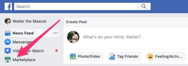 Opzione marketplace di Facebook