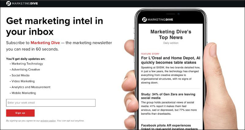 Newsletter di marketing Dive Email
