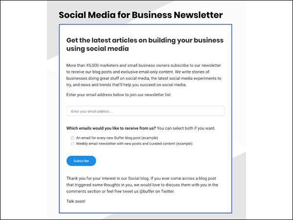 Buffer e-mail newsletter sociale