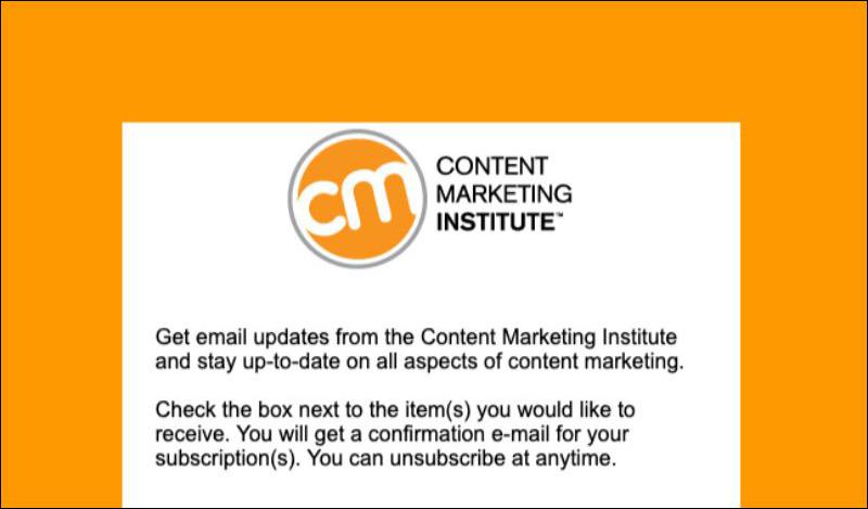 Notiziario via email per Content Marketing Institute
