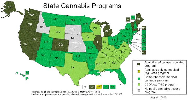 Stati Uniti dai programmi statali sulla cannabis